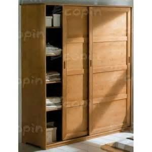 armoire 2 portes coulissantes en pin quot quot ecopin