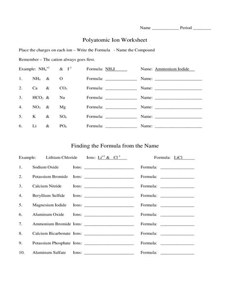 Ions Worksheet by Polyatomic Ions Worksheet Free Worksheets Library