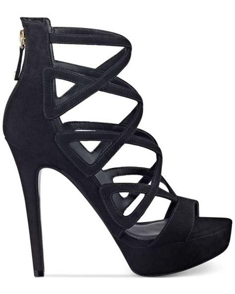 guess high heel sandals guess s kadani caged platform high heel sandals in