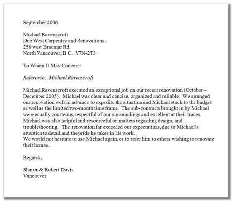 Carpenter Reference Letter Sample Free   Cover Letter