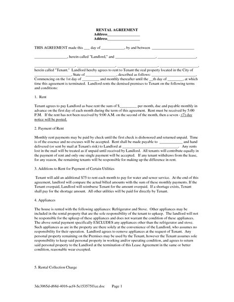 printable lease agreement template property california rental agreement template free