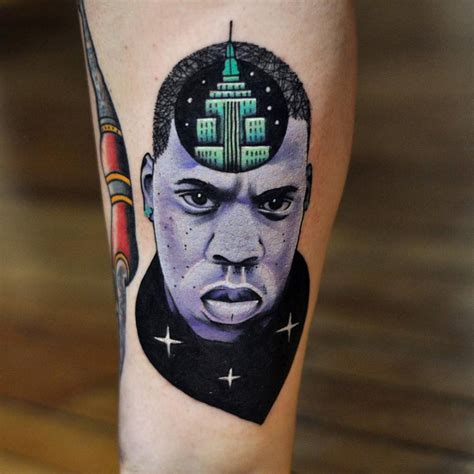 jay z tattoo surrealist z portrait on the lower leg quot
