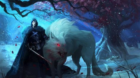 wallpaper ghost game of thrones jon snow and ghost full hd wallpaper and background image