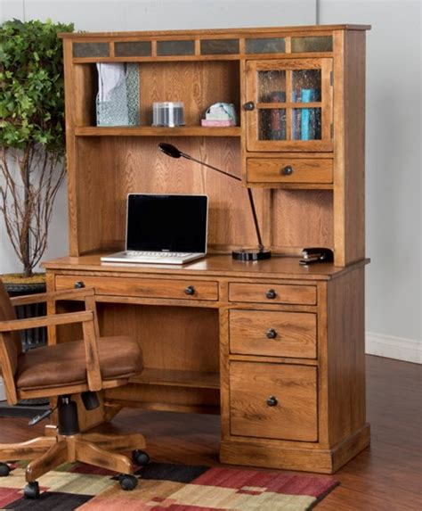 Rustic Desk With Hutch Sedona Rustic Oak Wood Glass Rectangle Computer Desk With Hutch The Home