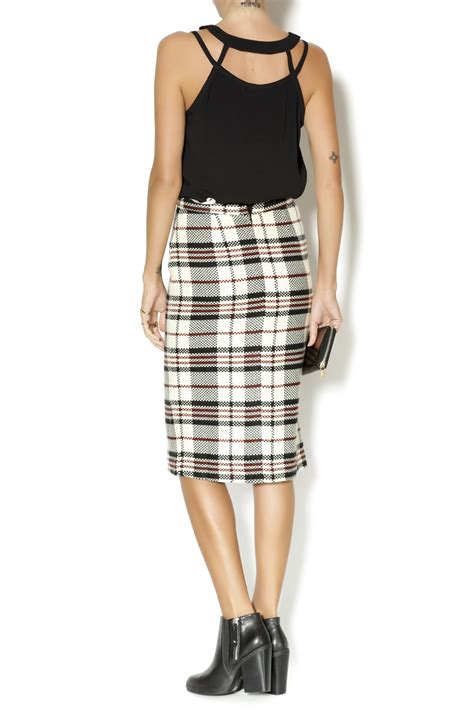 pink martini plaid pencil skirt from indiana by