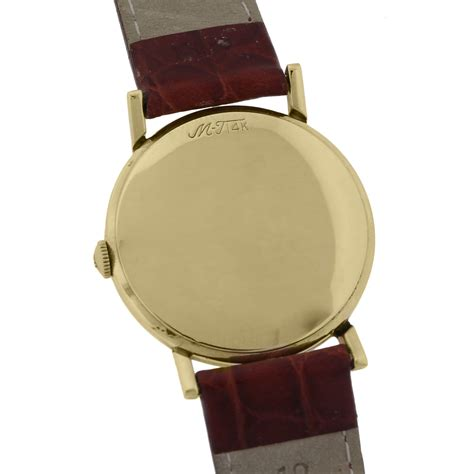 Tissot Gold Leather mathey tissot 14k yellow gold on leather vintage