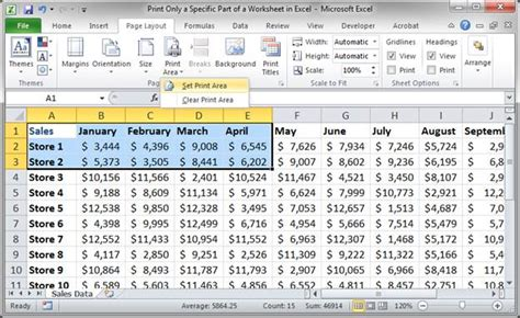shrink to printable area excel clear print area excel 2010 selected cells as print area