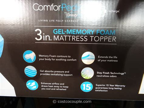 Costco Gel Memory Foam Mattress Topper by Comforpedic 3 Inch Gel Memory Foam Mattress Topper