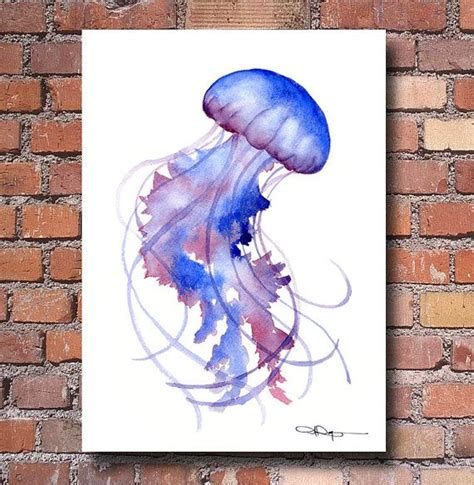 decor painting jellyfish art print watercolor abstract painting
