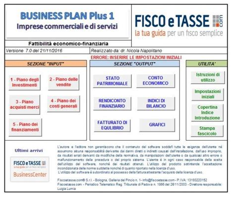 business plan per business plan pacchetto completo excel fiscoetasse