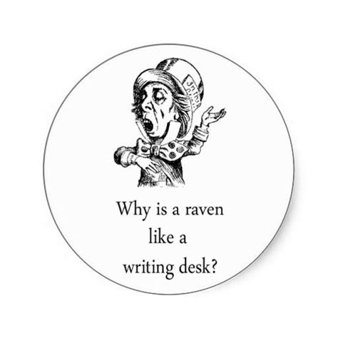 why is a raven like a writing desk tattoo in mad hatter quote sticker