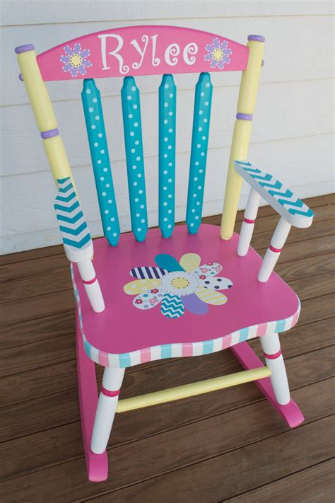 Painted Childrens Chairs by Painted Whimsical Personalized Child Rocking Chair