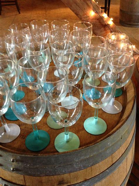 wine wedding shower favors painted wine glasses wine bridal shower favor bridal shower