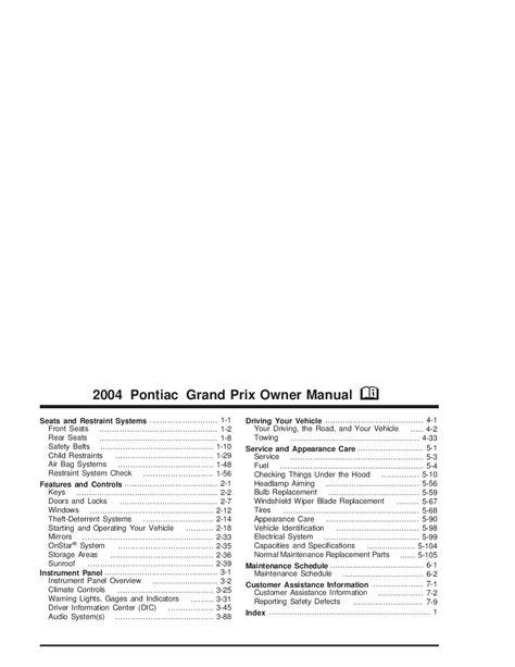 manual repair free 2004 pontiac grand prix electronic throttle control 2004 pontiac grand prix owners manual just give me the damn manual