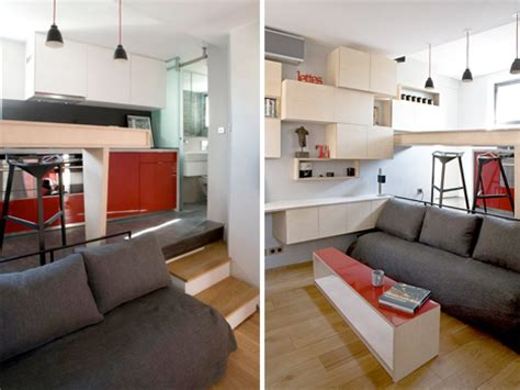 Small Apartment Living Room Ideas disappearing bed for tiny flat rolls under kitchen floor