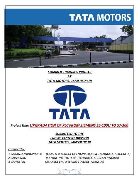 Tata Motors Project For Mba by Print Report Summer Trainee