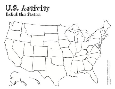 usa state map blank us state map label worksheet geography printable