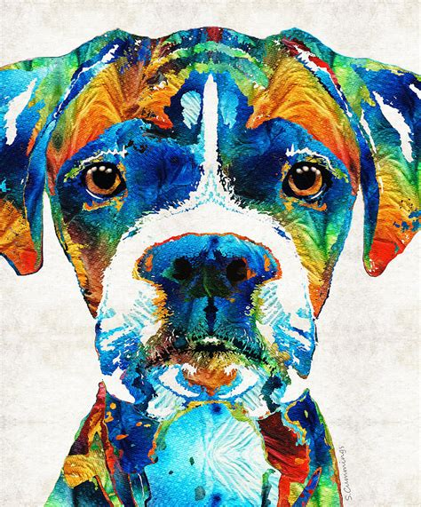 colorful dogs colorful boxer by painting by