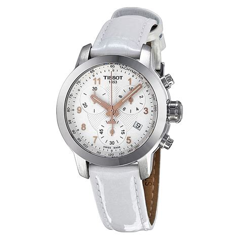 tissot prc200 chronograph silver white leather t0552171603201 prc200 t