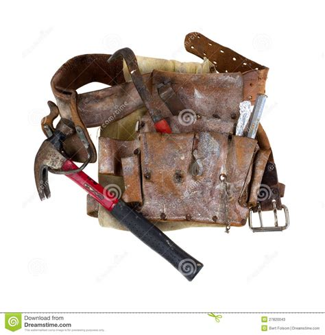 use tool used tool belt with hammer stock image image of