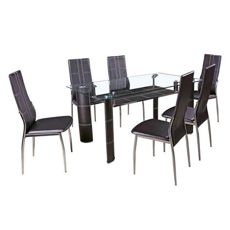 tj hughes dining table and chairs 7 black dining set faux leather dining chairs