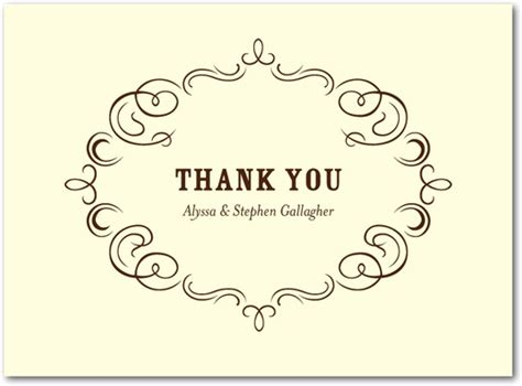 thank you card designs royal filigree thermography thank you cards in th brown