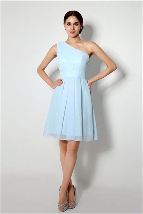 light blue bridesmaid dresses short a line one shoulder short light blue chiffon bridesmaid