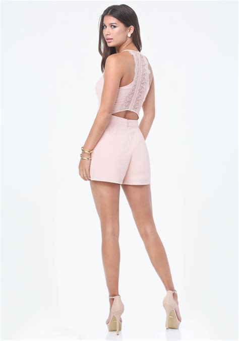lyst express lace open back romper in pink lyst bebe lace back romper in pink
