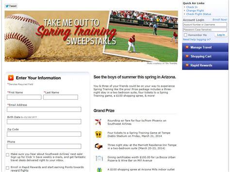 Southwest Sweepstakes - southwest spring training sweepstakes