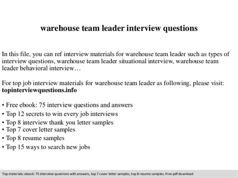 warehouse team leader questions
