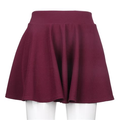 Plain Pleated Mini Skirt fashion s stretch waist plain skater flared pleated