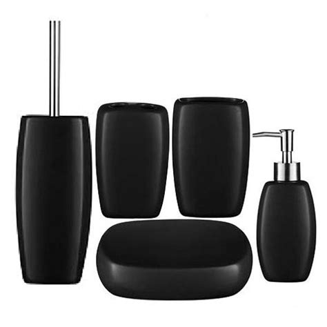 5 matt black stoneware bathroom accessories set at