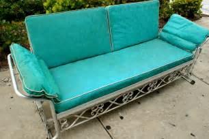 Replacement Couch Cushions Vintage 1950s Aqua Vinyl Aluminum Patio Glider Sofa
