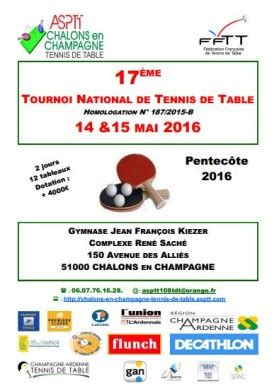 Calendrier Dotations 2016 Tournoi 2016 Asptt Tennis De Table