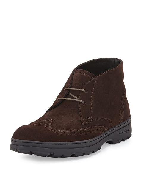 ferragamo boots for ferragamo suede wing tip boot in brown for lyst