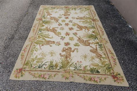 needlepoint rug made wool needlepoint rug with monkeys at 1stdibs