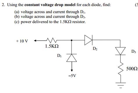 constant voltage drop model diode exle using the constant voltage drop model for each dio chegg