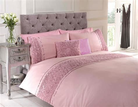 dusky pink raised rose duvet quilt cover bed set bedding 4