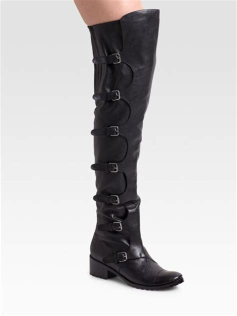 Dolce Vita Bone Sheep Buckle Boots dolce vita the knee buckle boots in black lyst