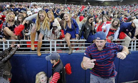 ole miss fan total takeover ole miss fans rush the field after win