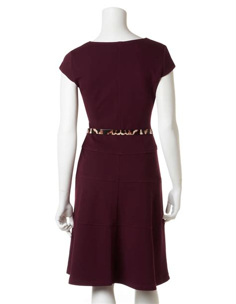 maroon fit and flare dress with belt cleo