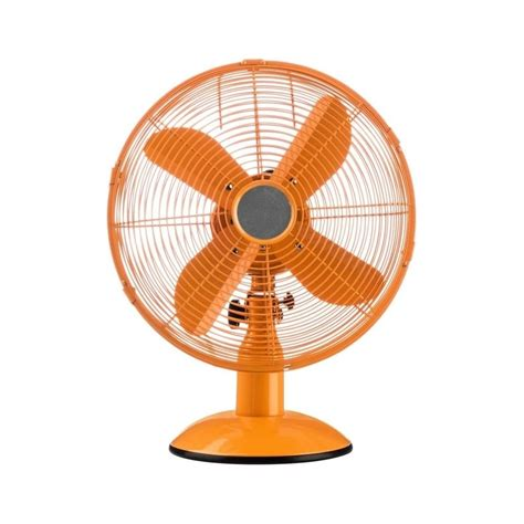 buy bright orange oscillating metal desk fan from fusion