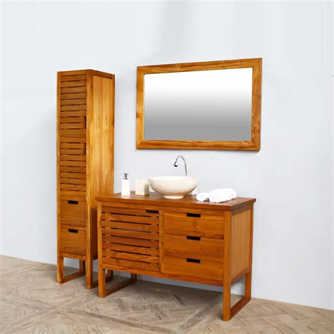 Teak Bathroom Furniture Bathroom Cabinet L110cm Teak Wood Teak Bathroom Cabinets Tsc