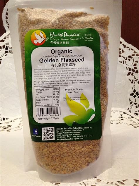 Golden Flaxseed Organic 500 Gr flax seed organic golden dan brown chiaseedku