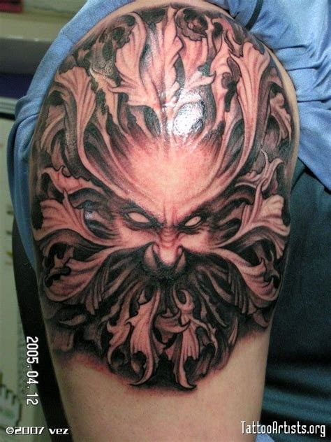 green man tattoo green designs trees
