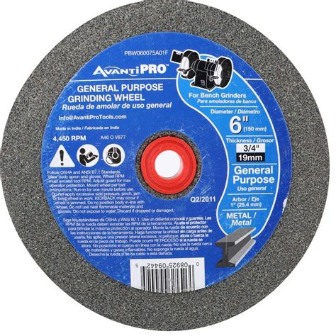 bench grinding wheel avanti pro 6 in x 3 4 in x 1 in bench grinding wheel