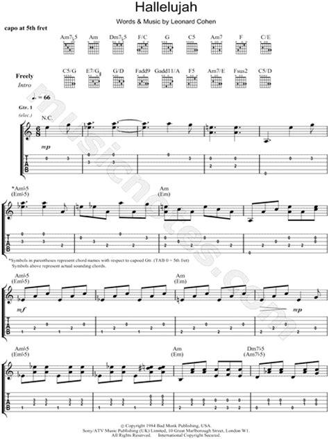 printable hallelujah lyrics jeff buckley jeff buckley quot hallelujah quot guitar tab in c major download