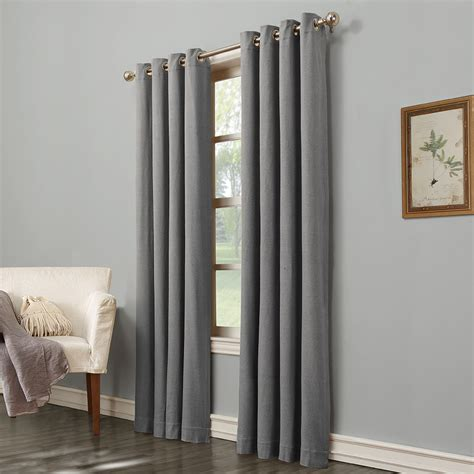 light filtering curtains shop allen roth hesket 84 in grey polyester grommet