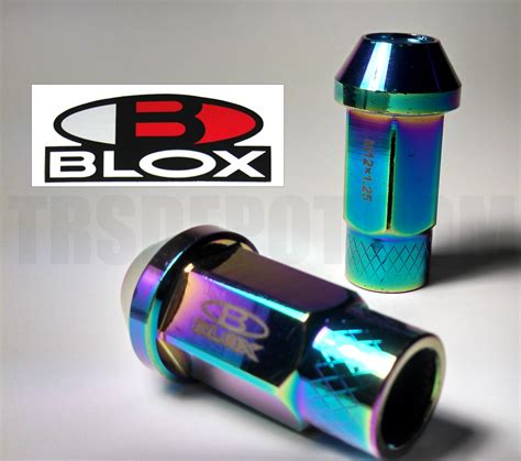 Lugnut Blox 15mm 12x1 25mm blox forged racing lug nuts neo chrome 50mm