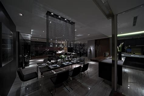 All Black Room by Lit Moody Modern Dining In Slate Steve Leung